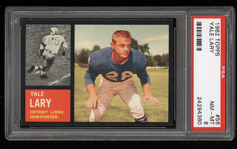 Image of: 1962 Topps Football Yale Lary #56 PSA 8 NM-MT (PWCC)