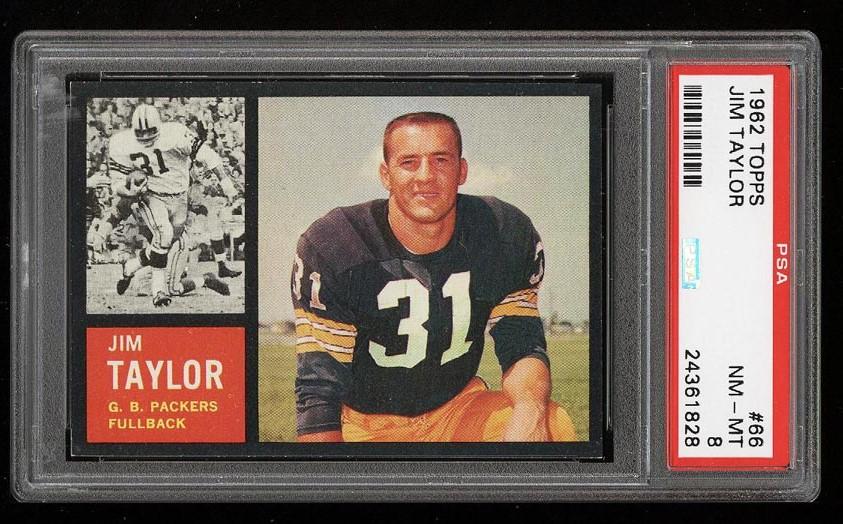 Image of: 1962 Topps Football Jim Taylor SHORT PRINT #66 PSA 8 NM-MT (PWCC)