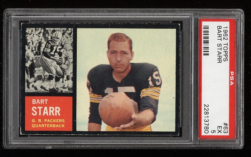 Image of: 1962 Topps Football Bart Starr SHORT PRINT #63 PSA 5 EX (PWCC)
