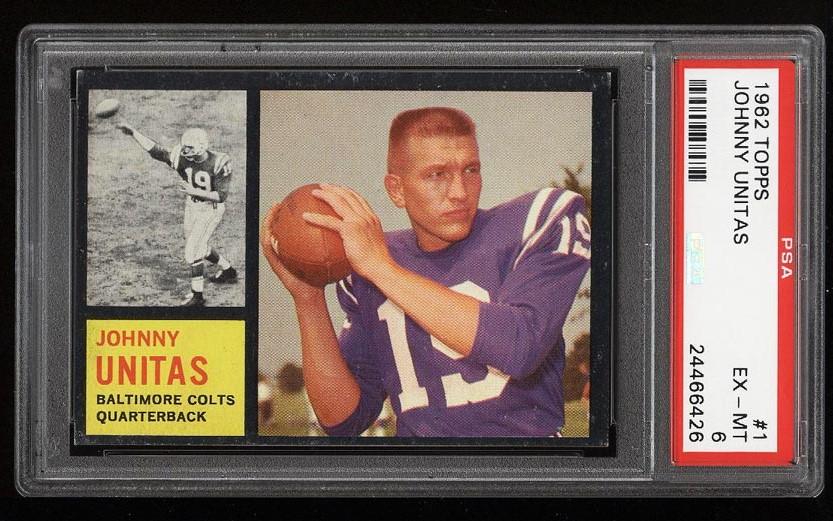 Image of: 1962 Topps Football Johnny Unitas #1 PSA 6 EXMT (PWCC)