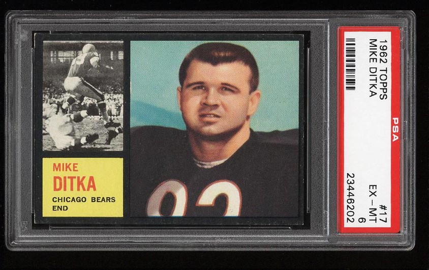 Image of: 1962 Topps Football Mike Ditka ROOKIE RC #17 PSA 6 EXMT (PWCC)