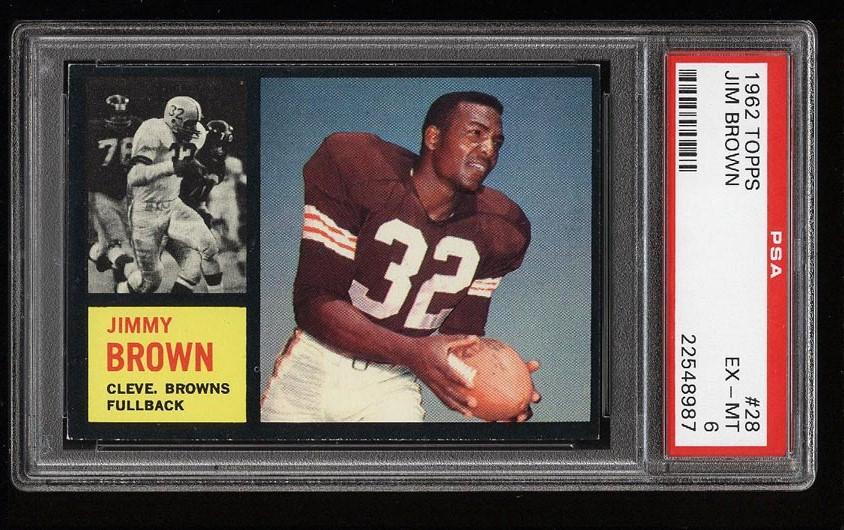 Image of: 1962 Topps Football Jim Brown #28 PSA 6 EXMT (PWCC)