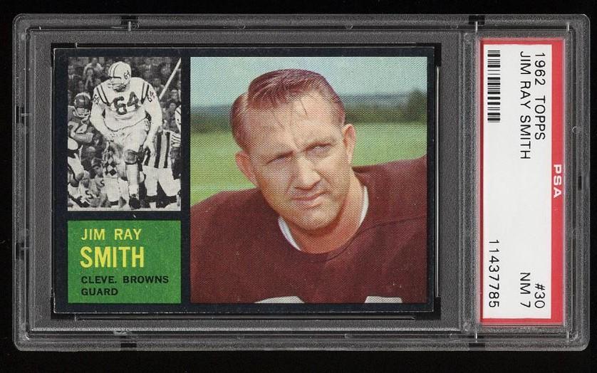 Image of: 1962 Topps Football Jim Ray Smith #30 PSA 7 NRMT (PWCC)