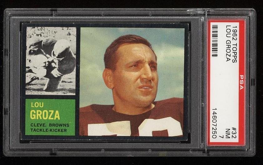 Image of: 1962 Topps Football Lou Groza #32 PSA 7 NRMT (PWCC)