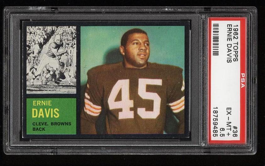Image of: 1962 Topps Football Ernie Davis SP ROOKIE RC #36 PSA 6.5 EXMT+ (PWCC)