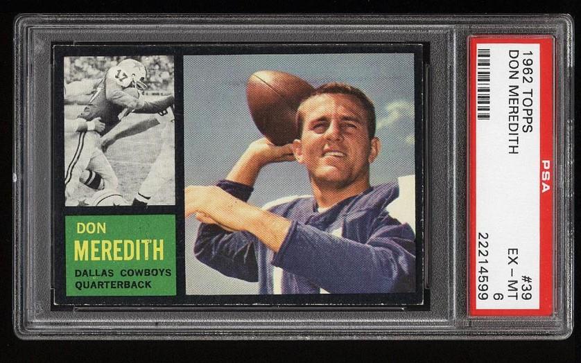 Image of: 1962 Topps Football Don Meredith #39 PSA 6 EXMT (PWCC)
