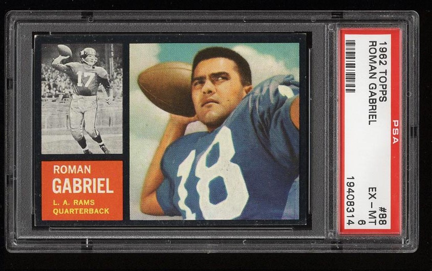 Image of: 1962 Topps Football Roman Gabriel SP ROOKIE RC #88 PSA 6 EXMT (PWCC)