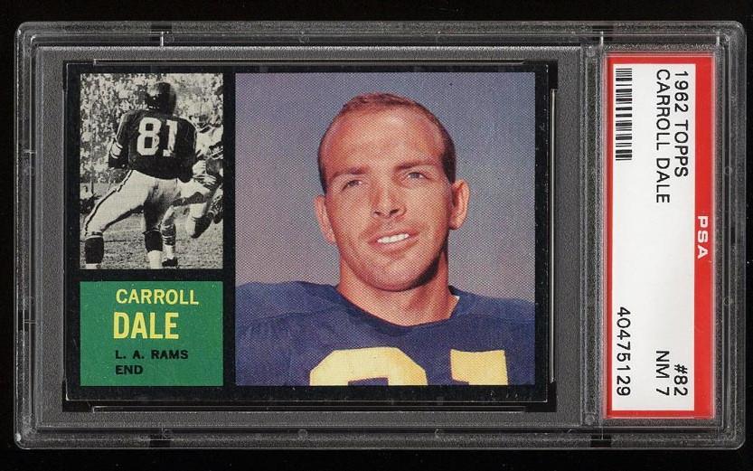 Image of: 1962 Topps Football Carroll Dale #82 PSA 7 NRMT (PWCC)