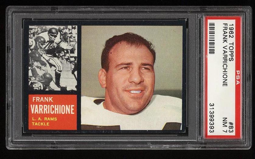Image of: 1962 Topps Football Frank Varrichione #83 PSA 7 NRMT (PWCC)