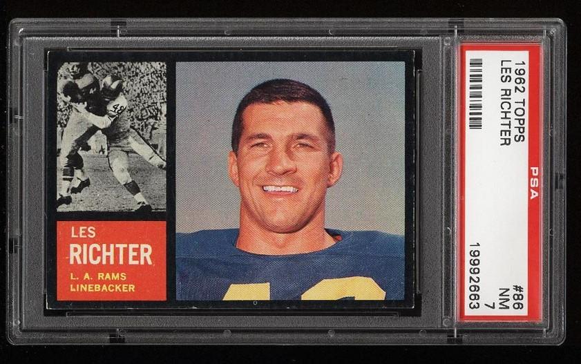 Image of: 1962 Topps Football Les Richter SHORT PRINT #86 PSA 7 NRMT (PWCC)