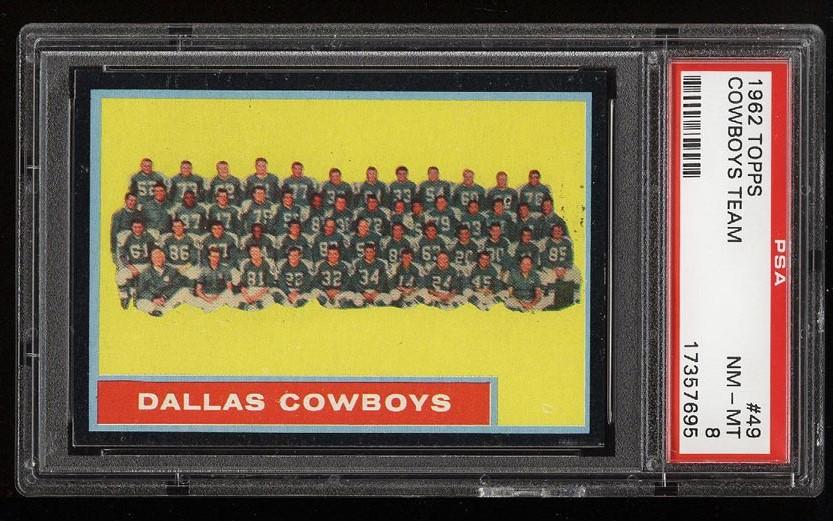 Image of: 1962 Topps Football Dallas Cowboys Team #49 PSA 8 NM-MT (PWCC)