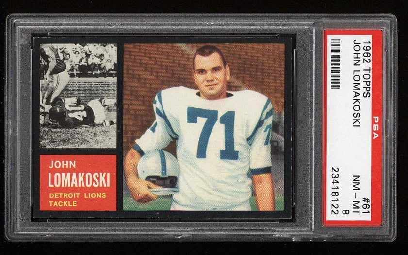 Image of: 1962 Topps Football John Lomakoski SHORT PRINT #61 PSA 8 NM-MT (PWCC)