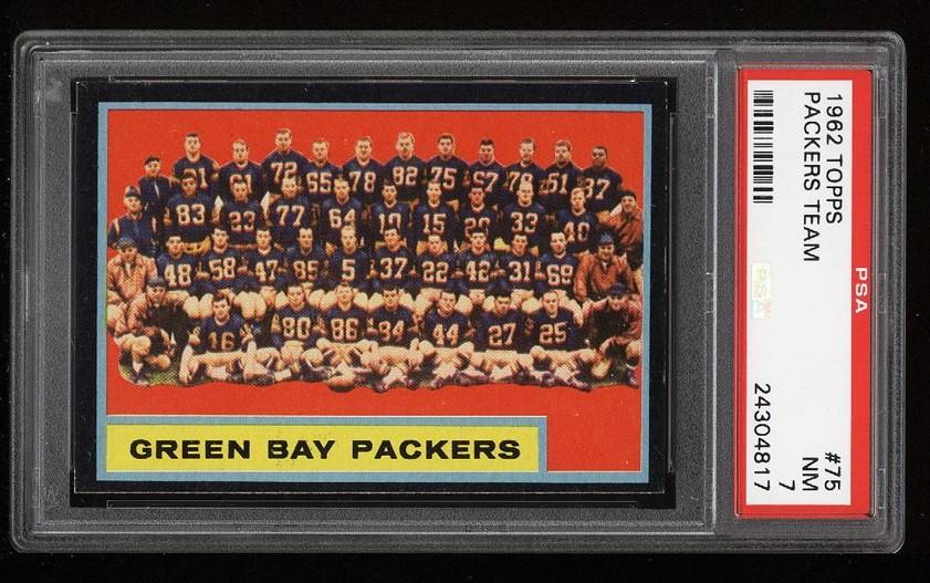 Image of: 1962 Topps Football Green Bay Packers Team SHORT PRINT #75 PSA 7 NRMT (PWCC)