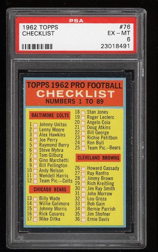 Image of: 1962 Topps Football Checklist SHORT PRINT #76 PSA 6 EXMT (PWCC)