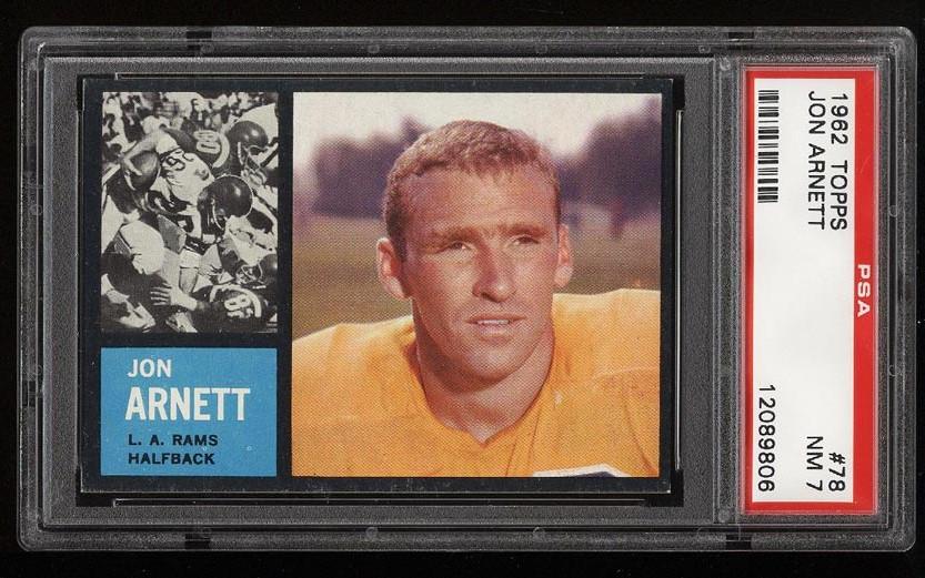 Image of: 1962 Topps Football Jon Arnett SHORT PRINT #78 PSA 7 NRMT (PWCC)