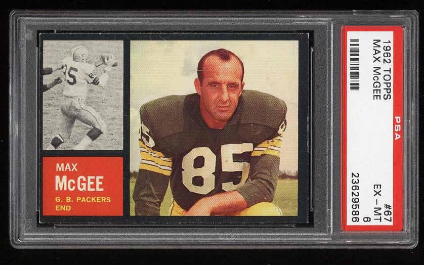 Image of: 1962 Topps Football Max McGee SHORT PRINT #67 PSA 6 EXMT (PWCC)