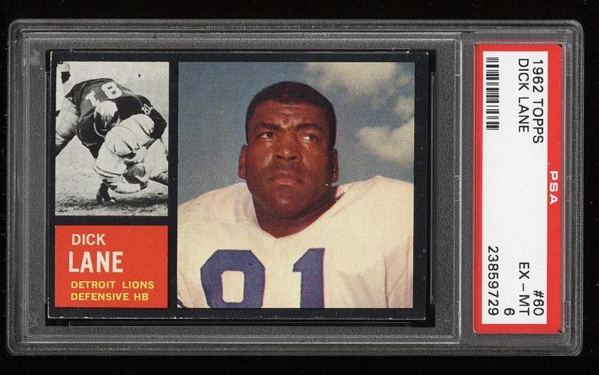 Image of: 1962 Topps Football Dick Lane #60 PSA 6 EXMT (PWCC)
