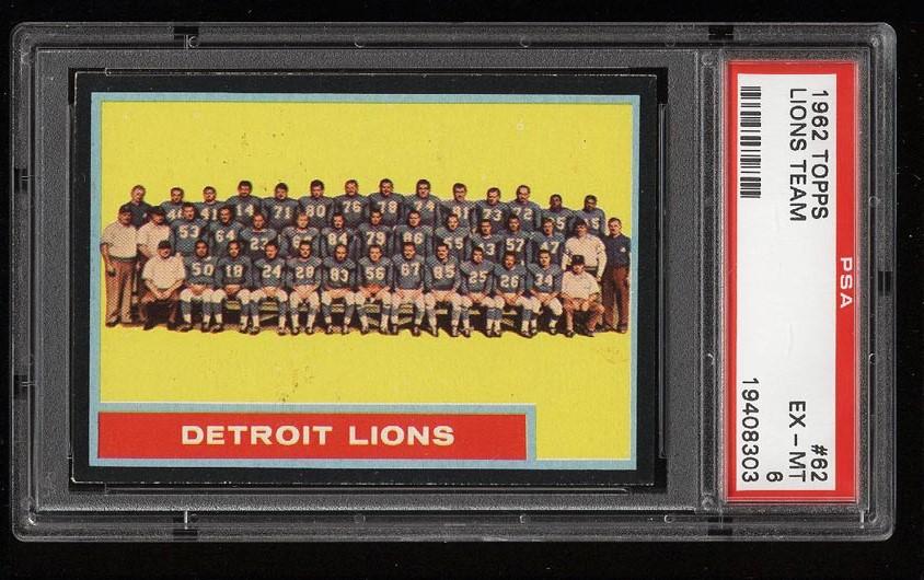 Image of: 1962 Topps Football Detroit Lions Team SHORT PRINT #62 PSA 6 EXMT (PWCC)