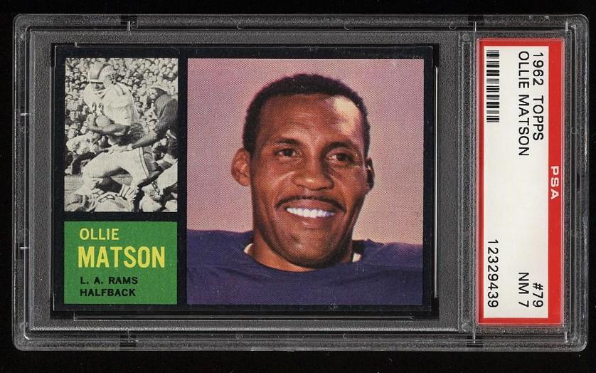 Image of: 1962 Topps Football Ollie Matson SHORT PRINT #79 PSA 7 NRMT (PWCC)