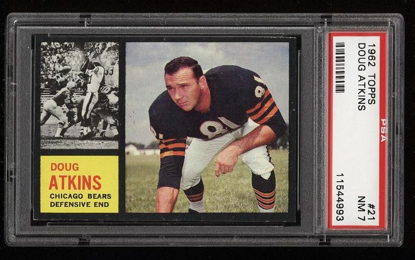 Image of: 1962 Topps Football Doug Atkins #21 PSA 7 NRMT (PWCC)