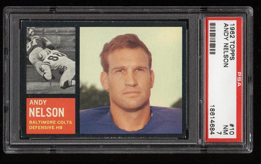 Image of: 1962 Topps Football Andy Nelson #10 PSA 7 NRMT (PWCC)