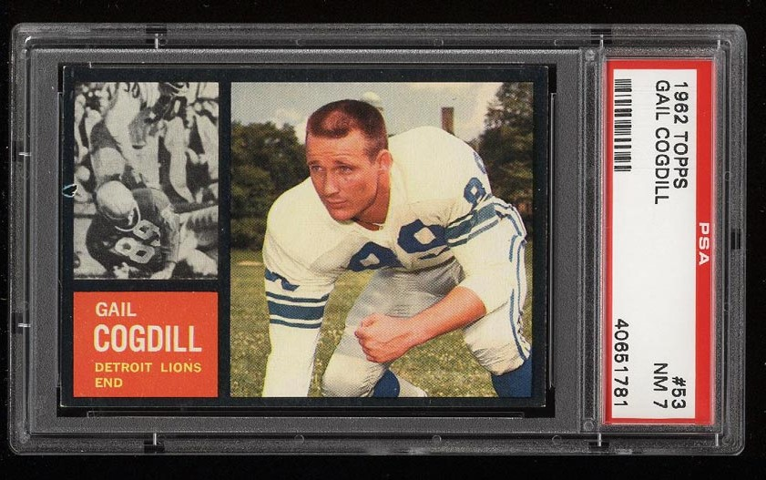 Image of: 1962 Topps Football Gail Cogdill #53 PSA 7 NRMT (PWCC)