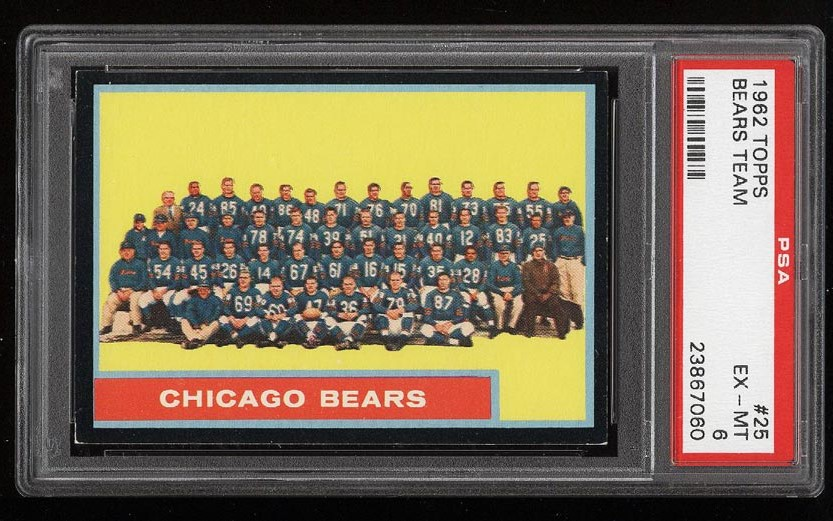 Image of: 1962 Topps Football Chicago Bears Team #25 PSA 6 EXMT (PWCC)