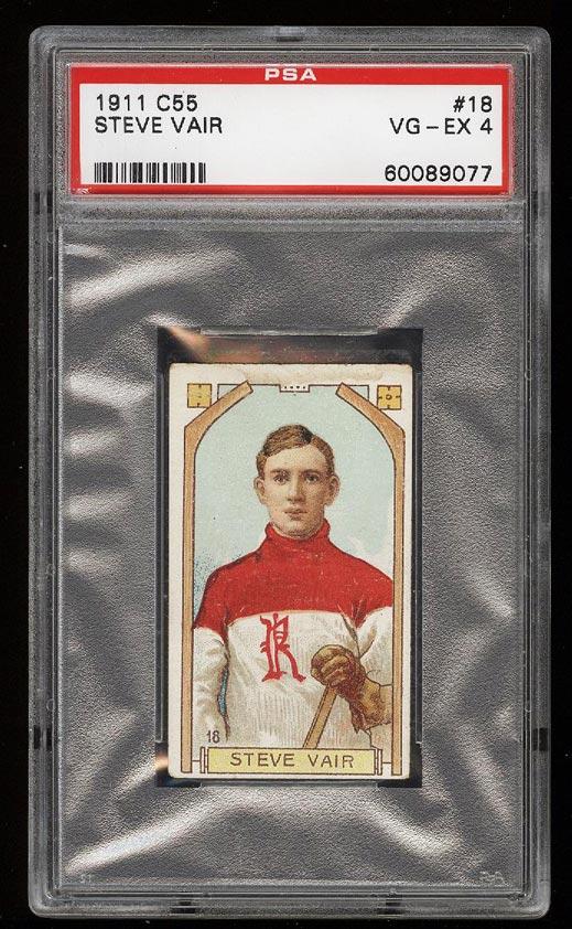 Image of: 1911 C55 Hockey Steve Vair #18 PSA 4 VGEX (PWCC)