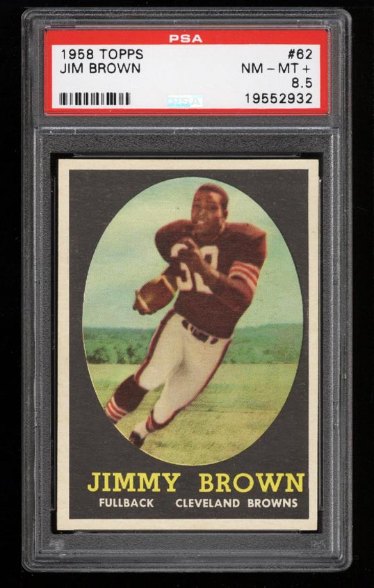 Image of: 1958 Topps Football SETBREAK Jim Brown ROOKIE RC #62 PSA 8.5 NM-MT+ (PWCC)