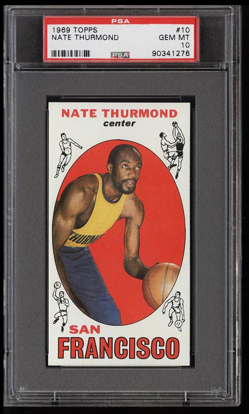 Image of: 1969 Topps Basketball SETBREAK Nate Thurmond HOF ROOKIE RC #10 PSA 10 GEM (PWCC)