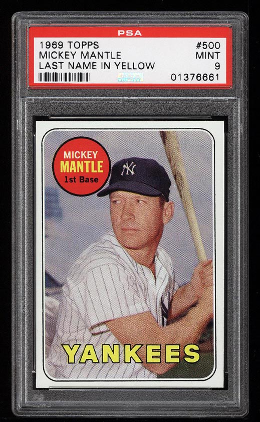 Image of: 1969 Topps Mickey Mantle #500 PSA 9 MINT (PWCC)