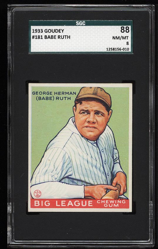Image of: 1933 Goudey Babe Ruth #181 SGC 8/88 NM-MT (PWCC)