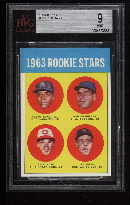 Image of: 1963 Topps Pete Rose ROOKIE RC #537 BVG 9 MINT (PWCC)