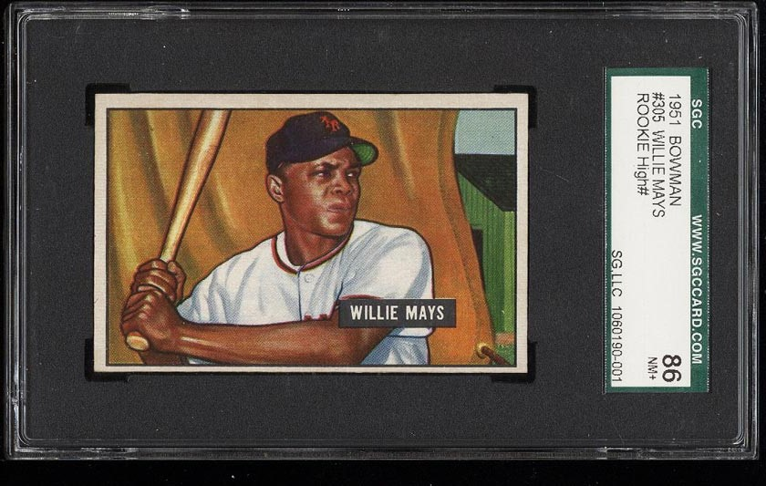 Image of: 1951 Bowman Willie Mays ROOKIE RC #305 SGC 7.5/86 NRMT+ (PWCC)