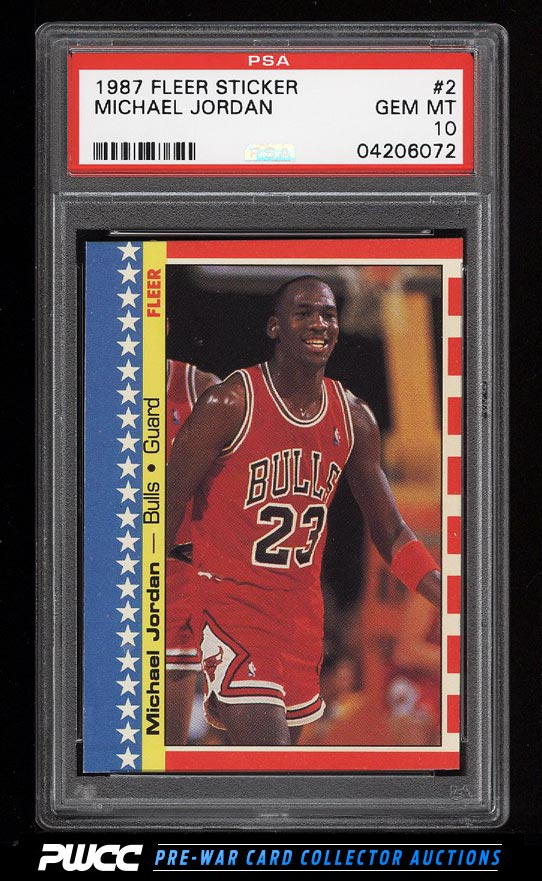 Image of: 1987 Fleer Sticker Michael Jordan #2 PSA 10 GEM MINT (PWCC)