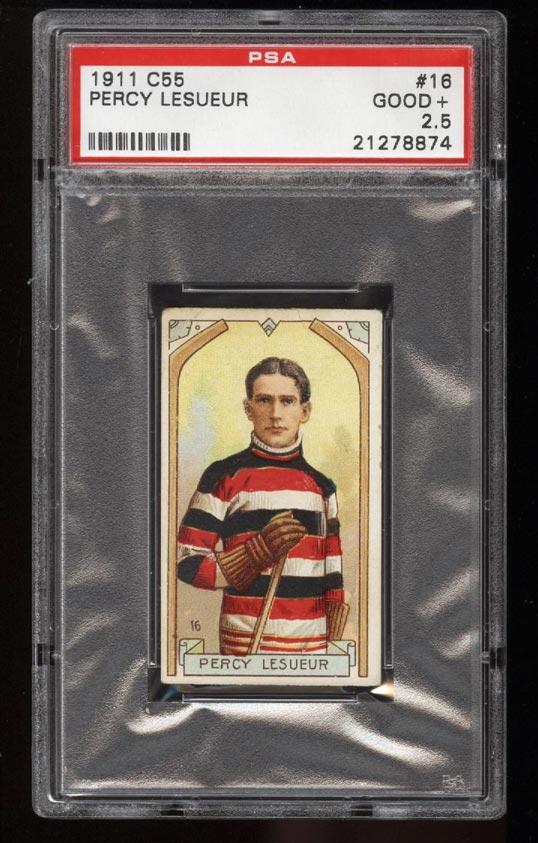 Image of: 1911 C55 Hockey SETBREAK Percy Lesueur #16 PSA 2.5 GD+ (PWCC)