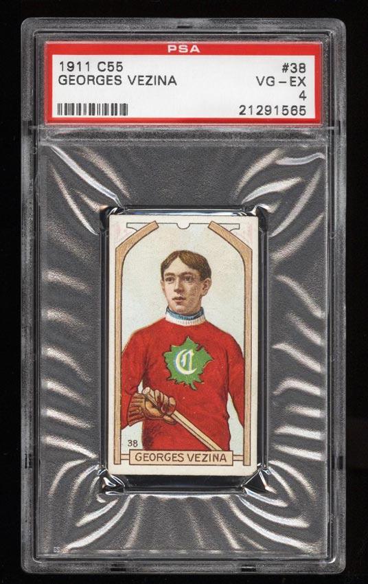 Image of: 1911 C55 Hockey SETBREAK Georges Vezina ROOKIE RC #38 PSA 4 VGEX (PWCC)