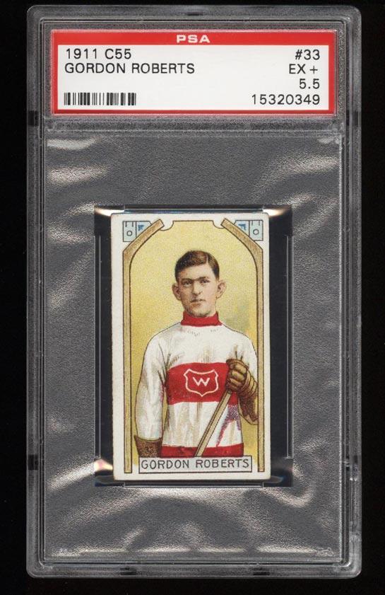 Image of: 1911 C55 Hockey SETBREAK Gordon Roberts #33 PSA 5.5 EX+ (PWCC)