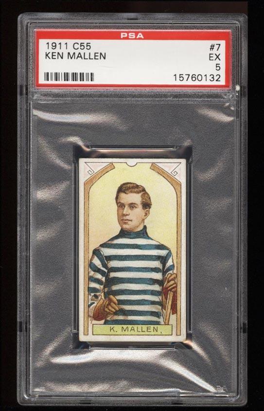 Image of: 1911 C55 Hockey SETBREAK Ken Mallen #7 PSA 5 EX (PWCC)