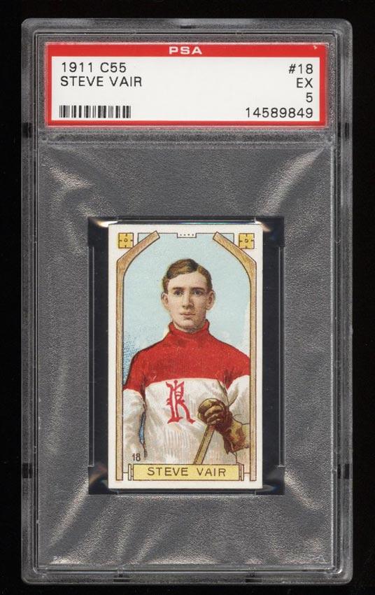 Image of: 1911 C55 Hockey SETBREAK Steve Vair #18 PSA 5 EX (PWCC)