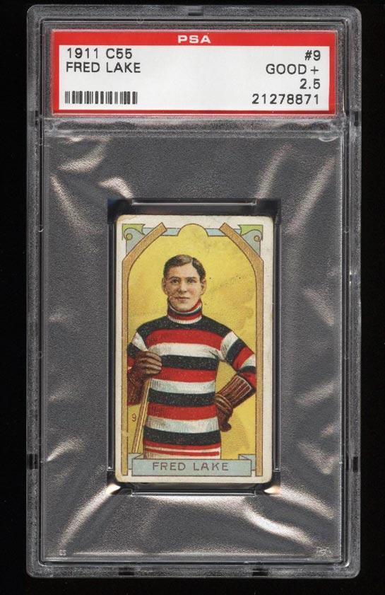 Image of: 1911 C55 Hockey SETBREAK Fred Lake #9 PSA 2.5 GD+ (PWCC)