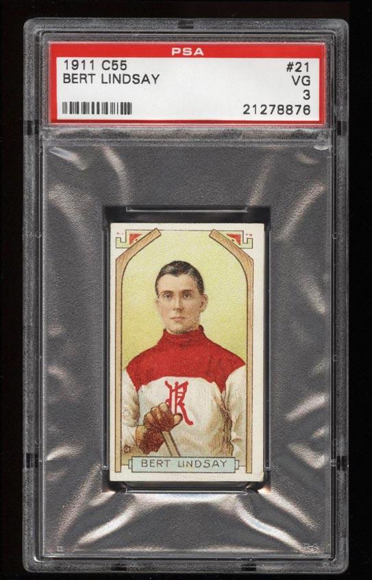Image of: 1911 C55 Hockey SETBREAK Bert Lindsay ROOKIE RC #21 PSA 3 VG (PWCC)