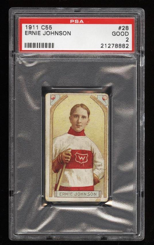 Image of: 1911 C55 Hockey SETBREAK Ernie Johnson #28 PSA 2 GD (PWCC)