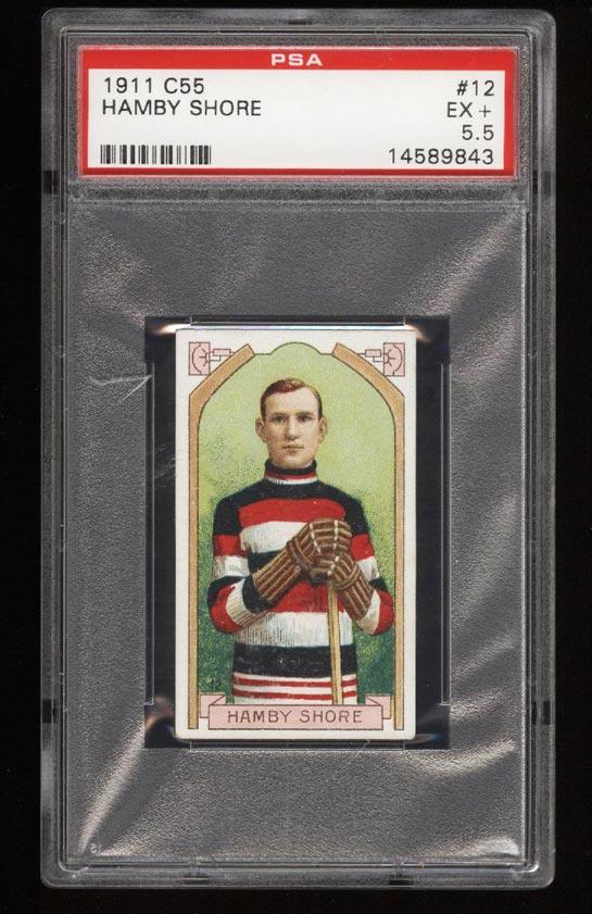 Image of: 1911 C55 Hockey SETBREAK Hamby Shore #12 PSA 5.5 EX+ (PWCC)