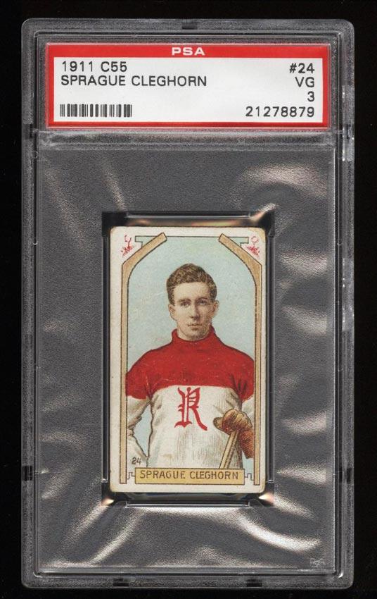 Image of: 1911 C55 Hockey SETBREAK Sprague Cleghorn ROOKIE RC #24 PSA 3 VG (PWCC)