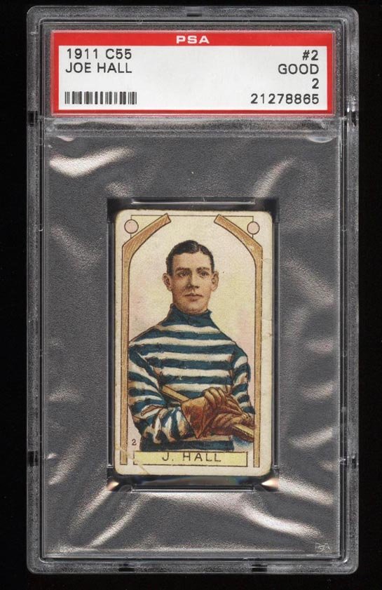 Image of: 1911 C55 Hockey SETBREAK Joe Hall ROOKIE RC #2 PSA 2 GD (PWCC)