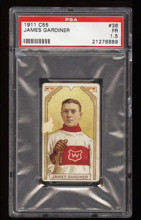 Image of: 1911 C55 Hockey SETBREAK James Gardiner ROOKIE RC #36 PSA 1.5 FR (PWCC)