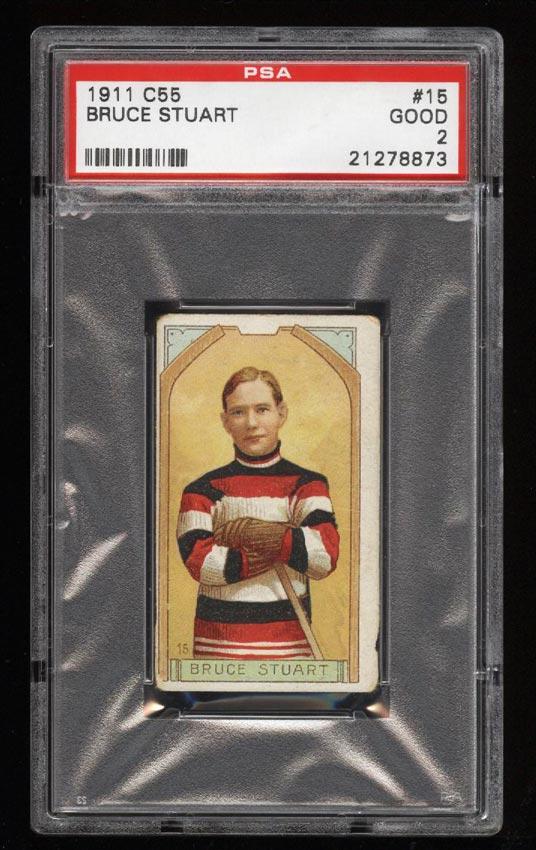 Image of: 1911 C55 Hockey SETBREAK Bruce Stuart #15 PSA 2 GD (PWCC)