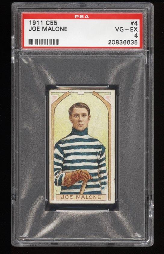 Image of: 1911 C55 Hockey SETBREAK Joe Malone ROOKIE RC #4 PSA 4 VGEX (PWCC)
