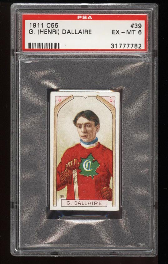 Image of: 1911 C55 Hockey SETBREAK Henri Dallaire #39 PSA 6 EXMT (PWCC)